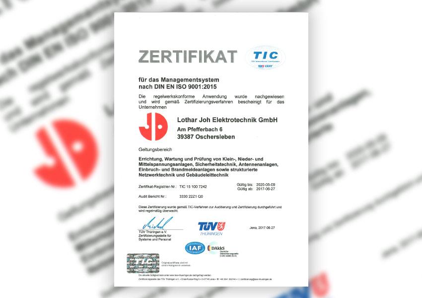 Zertifikat Managementsystem nach DIN EN ISO 9001:2015